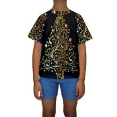 Decorative Starry Christmas Tree Black Gold Elegant Stylish Chic Golden Stars Kids  Short Sleeve Swimwear by yoursparklingshop