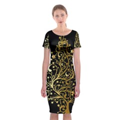 Decorative Starry Christmas Tree Black Gold Elegant Stylish Chic Golden Stars Classic Short Sleeve Midi Dress by yoursparklingshop