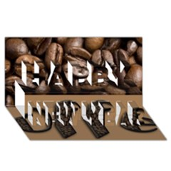 Funny Coffee Beans Brown Typography Happy New Year 3d Greeting Card (8x4) by yoursparklingshop