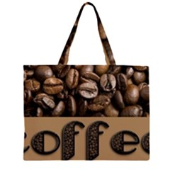 Funny Coffee Beans Brown Typography Zipper Large Tote Bag by yoursparklingshop