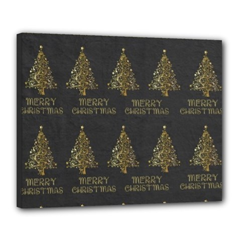 Merry Christmas Tree Typography Black And Gold Festive Canvas 20  X 16  by yoursparklingshop