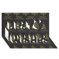 Merry Christmas Tree Typography Black And Gold Festive Best Wish 3d Greeting Card (8x4) by yoursparklingshop