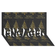 Merry Christmas Tree Typography Black And Gold Festive Engaged 3d Greeting Card (8x4) by yoursparklingshop