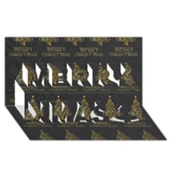 Merry Christmas Tree Typography Black And Gold Festive Merry Xmas 3d Greeting Card (8x4) by yoursparklingshop