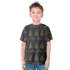 Merry Christmas Tree Typography Black And Gold Festive Kids  Cotton Tee by yoursparklingshop