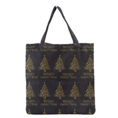 Merry Christmas Tree Typography Black And Gold Festive Grocery Tote Bag by yoursparklingshop