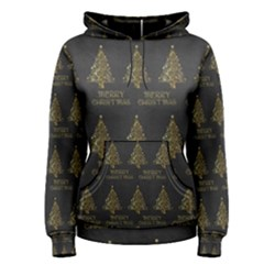 Merry Christmas Tree Typography Black And Gold Festive Women s Pullover Hoodie by yoursparklingshop