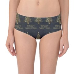 Merry Christmas Tree Typography Black And Gold Festive Mid Waist Bikini Bottoms by yoursparklingshop