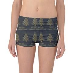 Merry Christmas Tree Typography Black And Gold Festive Reversible Boyleg Bikini Bottoms by yoursparklingshop