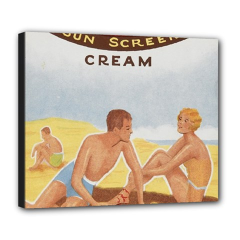 Vintage Summer Sunscreen Advertisement Deluxe Canvas 24  X 20   by yoursparklingshop