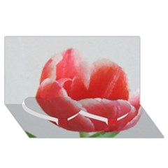 Red Tulip Watercolor Painting Twin Heart Bottom 3d Greeting Card (8x4) by picsaspassion