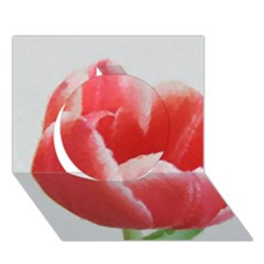 Red Tulip Watercolor Painting Circle 3d Greeting Card (7x5) by picsaspassion