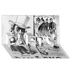 Vintage Song Sheet Lyrics Black White Typography Party 3d Greeting Card (8x4) by yoursparklingshop