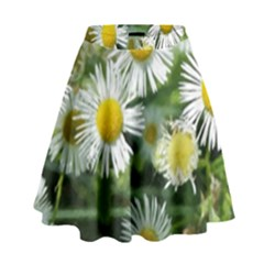White summer flowers watercolor painting art High Waist Skirt by picsaspassion