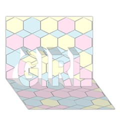 Colorful Honeycomb   Diamond Pattern Girl 3d Greeting Card (7x5) by picsaspassion