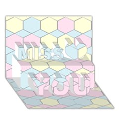 Colorful Honeycomb   Diamond Pattern Miss You 3d Greeting Card (7x5) by picsaspassion