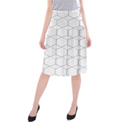 Honeycomb   Diamond Black And White Pattern Midi Beach Skirt by picsaspassion