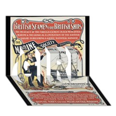 Vintage Advertisement British Navy Marine Typography Girl 3d Greeting Card (7x5) by yoursparklingshop