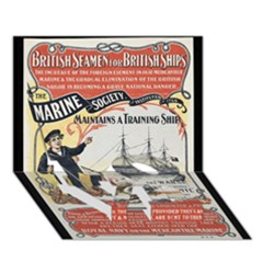 Vintage Advertisement British Navy Marine Typography Love Bottom 3d Greeting Card (7x5) by yoursparklingshop