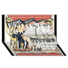Vintage Advertisement British Navy Marine Typography Congrats Graduate 3d Greeting Card (8x4) by yoursparklingshop