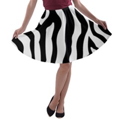 Zebra Horse Skin Pattern Black And White A Line Skater Skirt by picsaspassion