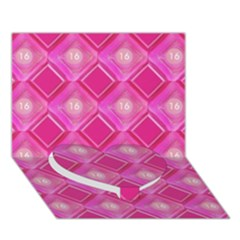 Pink Sweet Number 16 Diamonds Geometric Pattern Heart Bottom 3d Greeting Card (7x5) by yoursparklingshop