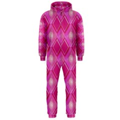 Pink Sweet Number 16 Diamonds Geometric Pattern Hooded Jumpsuit (men)  by yoursparklingshop