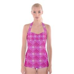 Pink Sweet Number 16 Diamonds Geometric Pattern Boyleg Halter Swimsuit  by yoursparklingshop