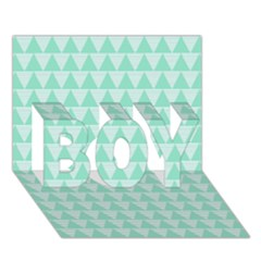 Mint Color Triangle Pattern Boy 3d Greeting Card (7x5) by picsaspassion