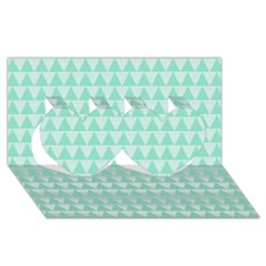 Mint Color Triangle Pattern Twin Hearts 3d Greeting Card (8x4) by picsaspassion