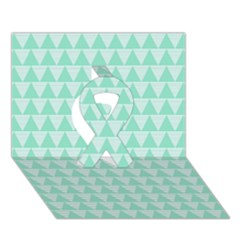 Mint Color Triangle Pattern Ribbon 3d Greeting Card (7x5) by picsaspassion
