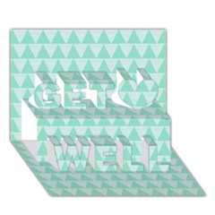 Mint Color Triangle Pattern Get Well 3d Greeting Card (7x5) by picsaspassion