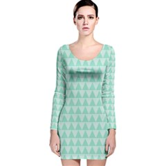 Mint color triangle pattern Long Sleeve Velvet Bodycon Dress by picsaspassion