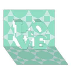 Mint Color Star   Triangle Pattern Love 3d Greeting Card (7x5) by picsaspassion
