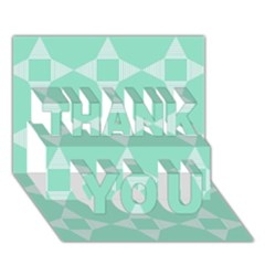 Mint Color Star   Triangle Pattern Thank You 3d Greeting Card (7x5) by picsaspassion