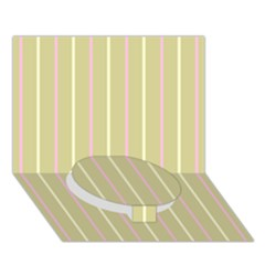 Summer Sand Color Pink And Yellow Stripes Circle Bottom 3d Greeting Card (7x5) by picsaspassion