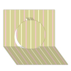 Summer Sand Color Pink And Yellow Stripes Circle 3d Greeting Card (7x5) by picsaspassion