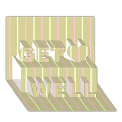 Summer Sand Color Pink And Yellow Stripes Get Well 3d Greeting Card (7x5) by picsaspassion