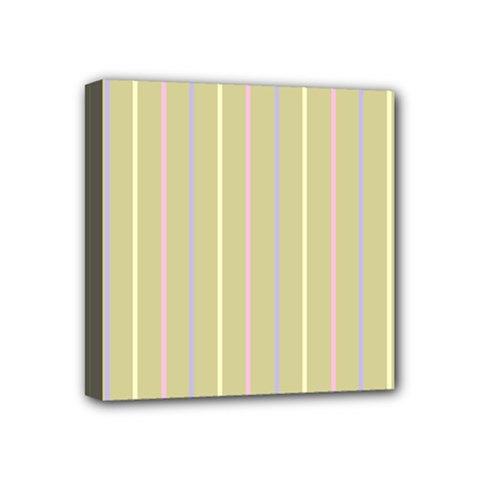 Summer Sand Color Lilac Pink Yellow Stripes Pattern Mini Canvas 4  X 4  by picsaspassion
