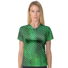 Green Abstract Forest Women s V Neck Sport Mesh Tee by DanaeStudio