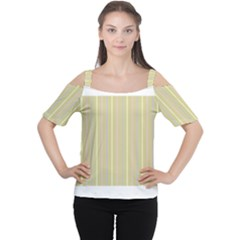 Summer sand color lilac pink yellow stripes pattern Women s Cutout Shoulder Tee by picsaspassion