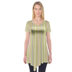 Summer Sand Color Lilac Pink Yellow Stripes Pattern Short Sleeve Tunic  by picsaspassion