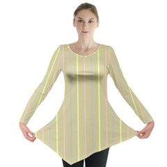 Summer Sand Color Lilac Pink Yellow Stripes Pattern Long Sleeve Tunic  by picsaspassion