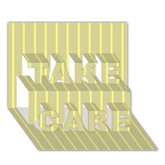 Summer Sand Color Yellow Stripes Pattern Take Care 3d Greeting Card (7x5) by picsaspassion