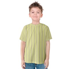 Summer Sand Color Yellow Stripes Pattern Kids  Cotton Tee by picsaspassion