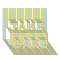Summer Sand Color Blue And Yellow Stripes Pattern Take Care 3d Greeting Card (7x5) by picsaspassion
