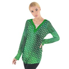 Green Abstract Forest Women s Tie Up Tee by DanaeStudio