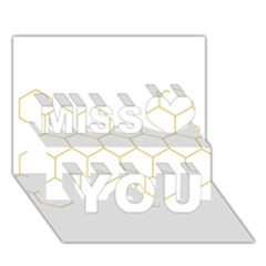 Honeycomb Pattern Graphic Design Miss You 3d Greeting Card (7x5) by picsaspassion