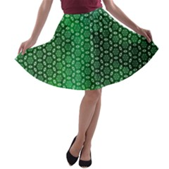 Green Abstract Forest A Line Skater Skirt by DanaeStudio