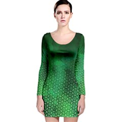 Ombre Green Abstract Forest Long Sleeve Velvet Bodycon Dress by DanaeStudio